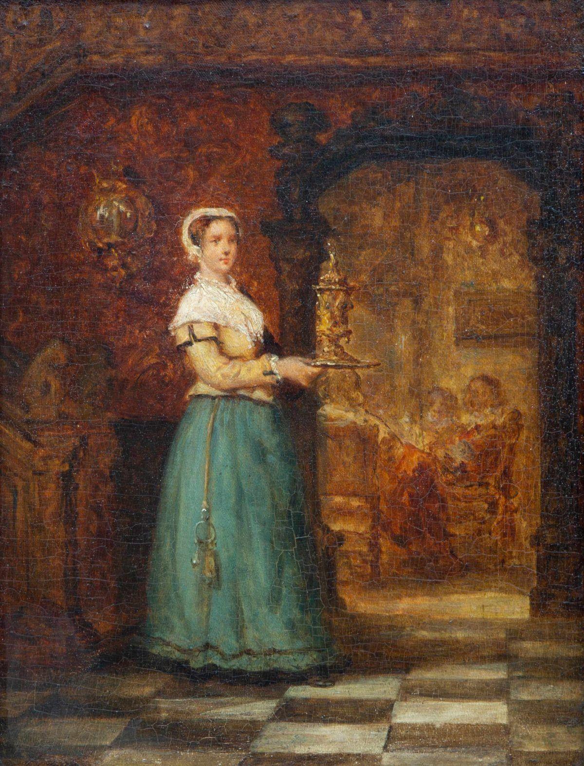 Schilderij met een dame met een chatelaine