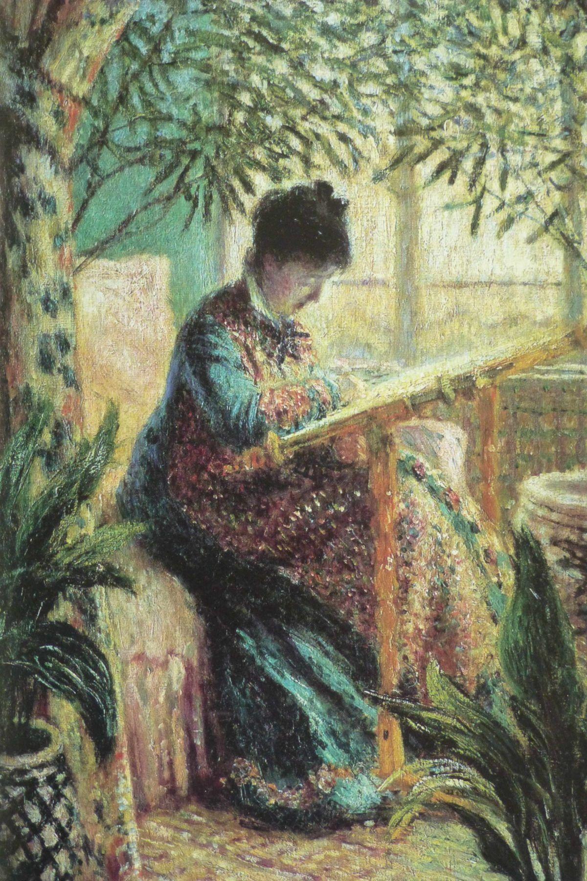 Mevrouw Monet tamboureert