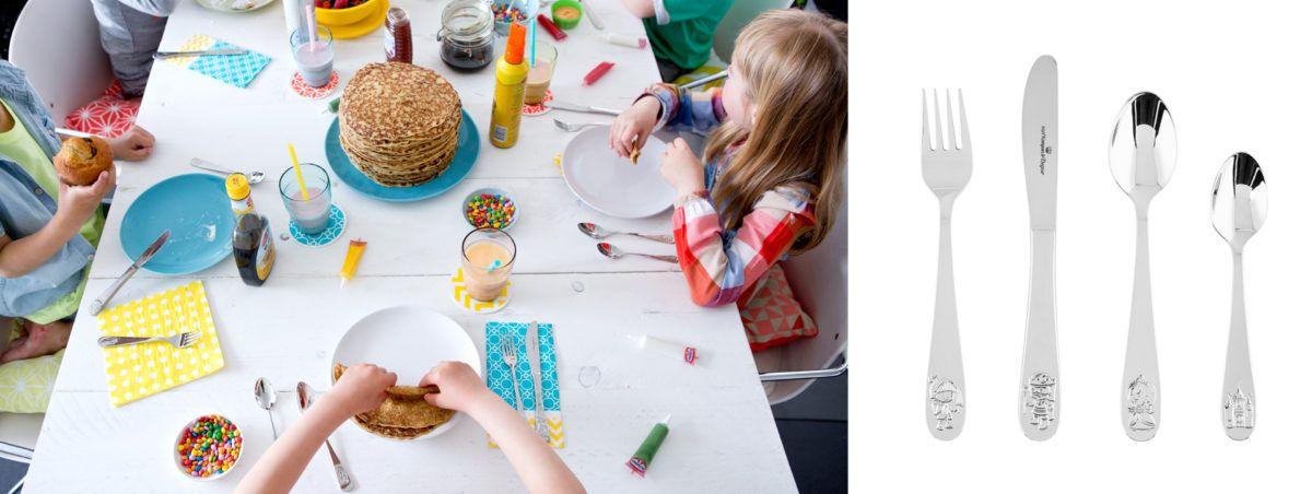 Kinderen die eten aan tafel met hun eigen bestekje van Keltum