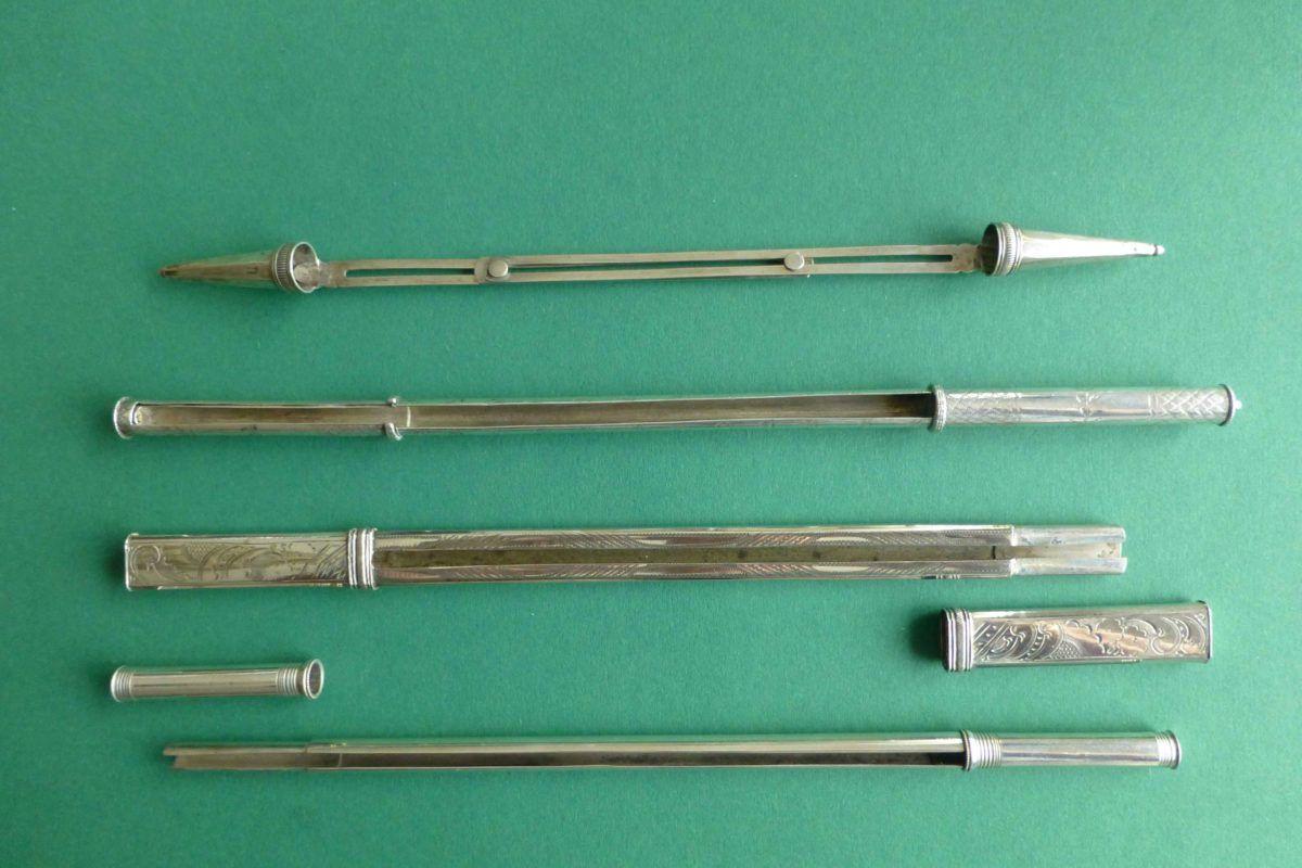 Antieke zilveren breipenschedes en breipenhouders antiek naaigerei
