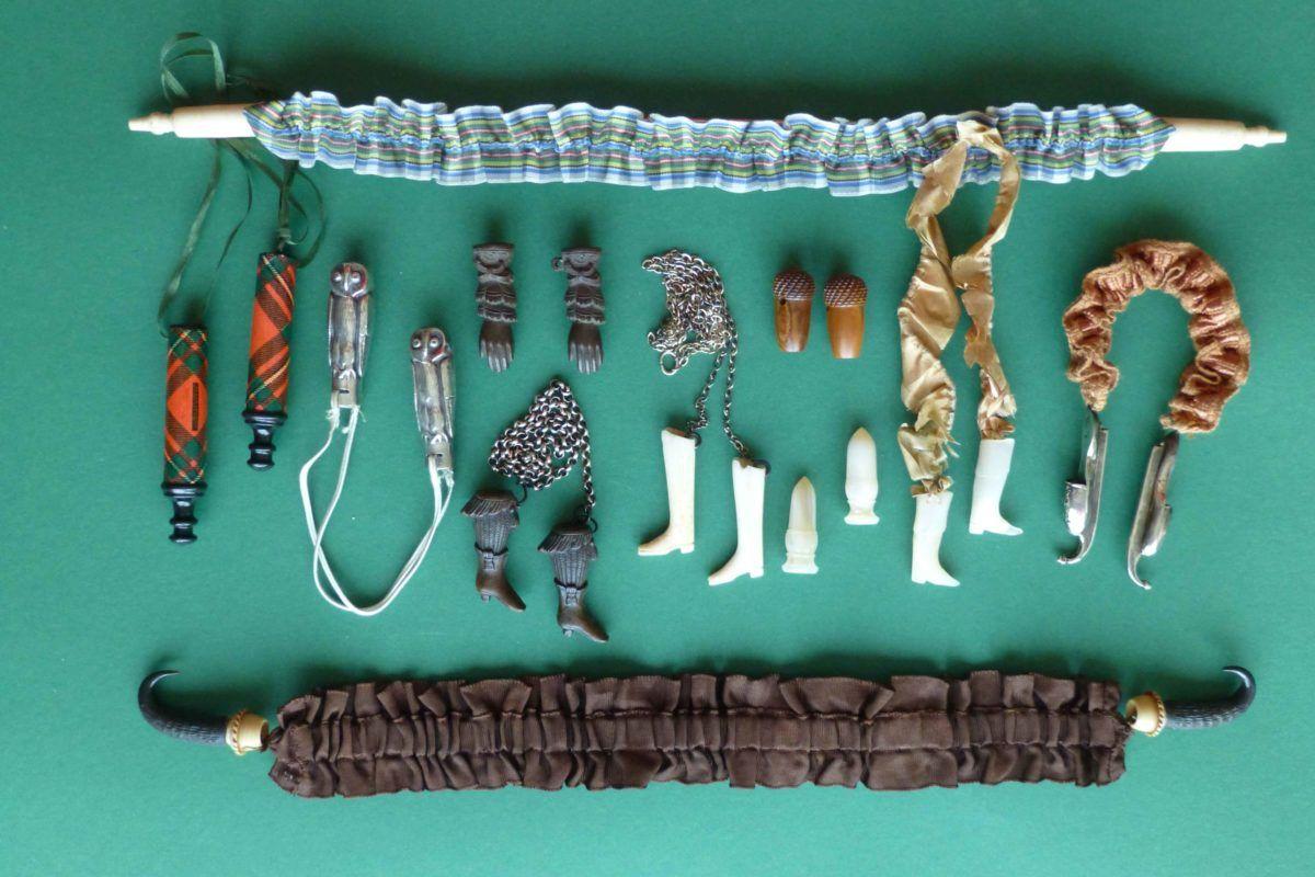 Antieke breipendoppen in diverse materialen