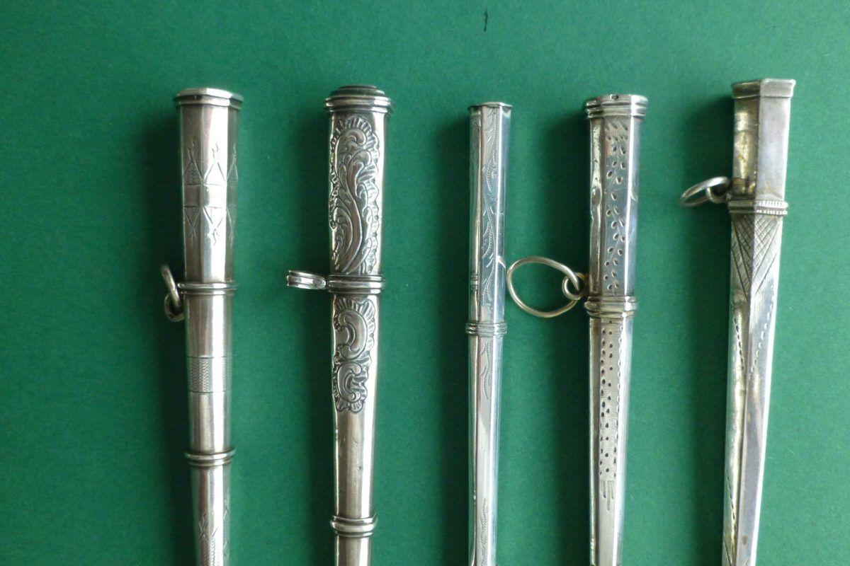 details antieke zilveren breipenschedes