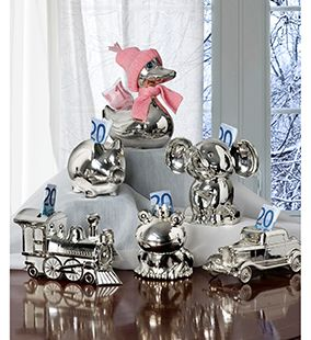 zilveren spaarpotten een mooi kraamcadeau