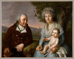 antiek schilderij met een echtpaar met hun baby met een zilveren rammelaar