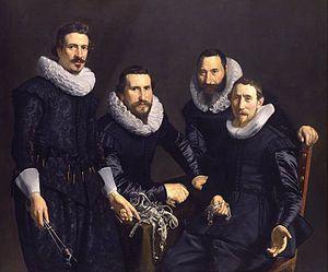 Overlieden, bestuursleden van het Amsterdamse Goud-en Zilversmidsgilde, in 1627 geschilderd door Thomas de Keyser.