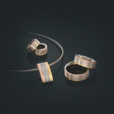 Boccia heeft een mooie collectie titanium sieraden bicolor en tricolor bezet met diamant.