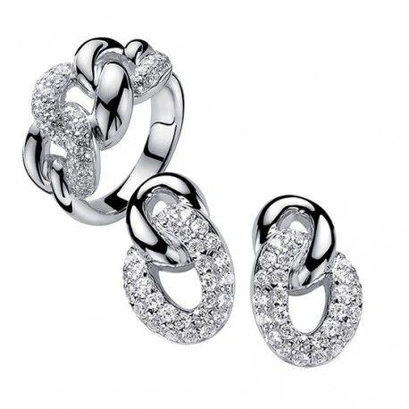 Zinzi zilveren sieradenset gourmetschakel oorbellen met ring