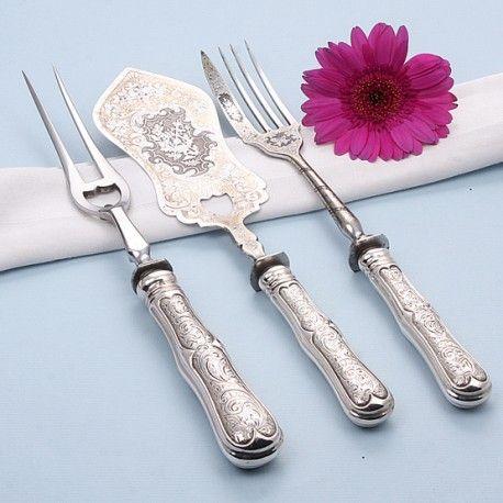 3 delige antiek zilveren serveerset voor een pastei