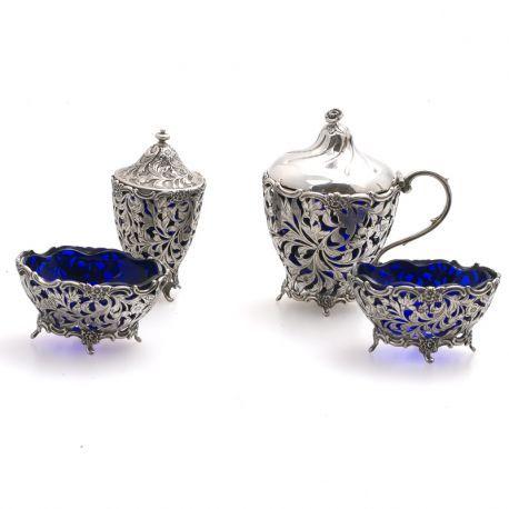 Zilver tafelgarnituur zilver met blauw glas Zilver.nl