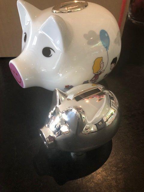 spaarvarkens van zilver en verzilverd