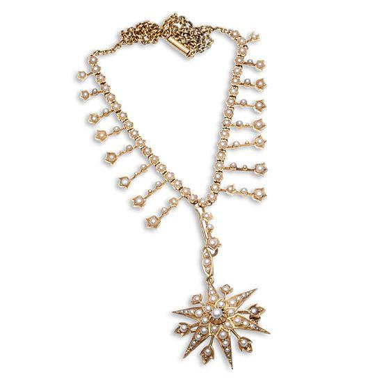 Antiek gouden collier met ster bezet met parels