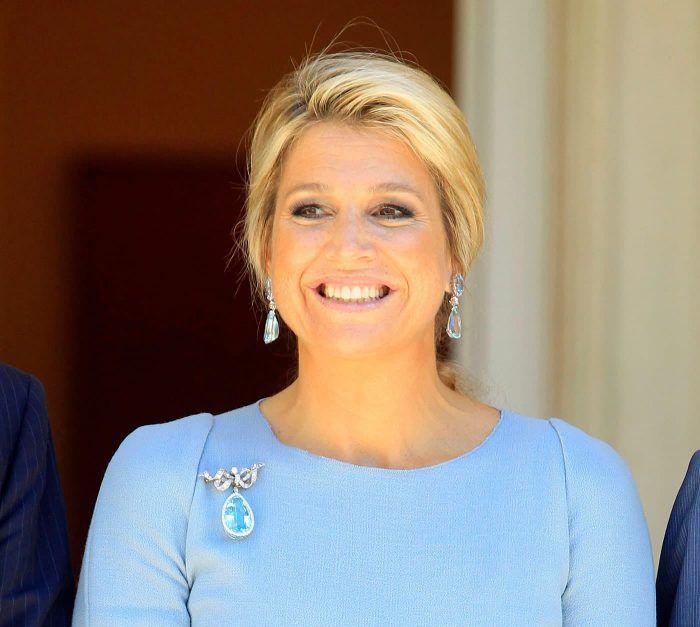 Koningin Maxima met de aquamarijn aan een broche Blog Zilver.nl