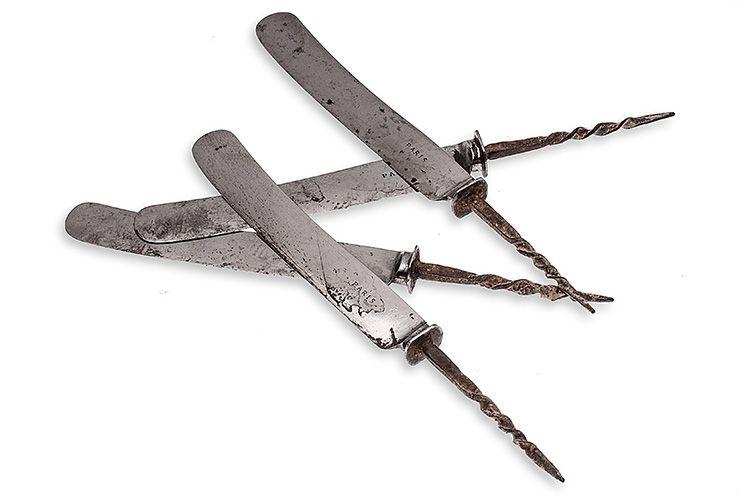 oude lemmets los van het zilveren mesheft