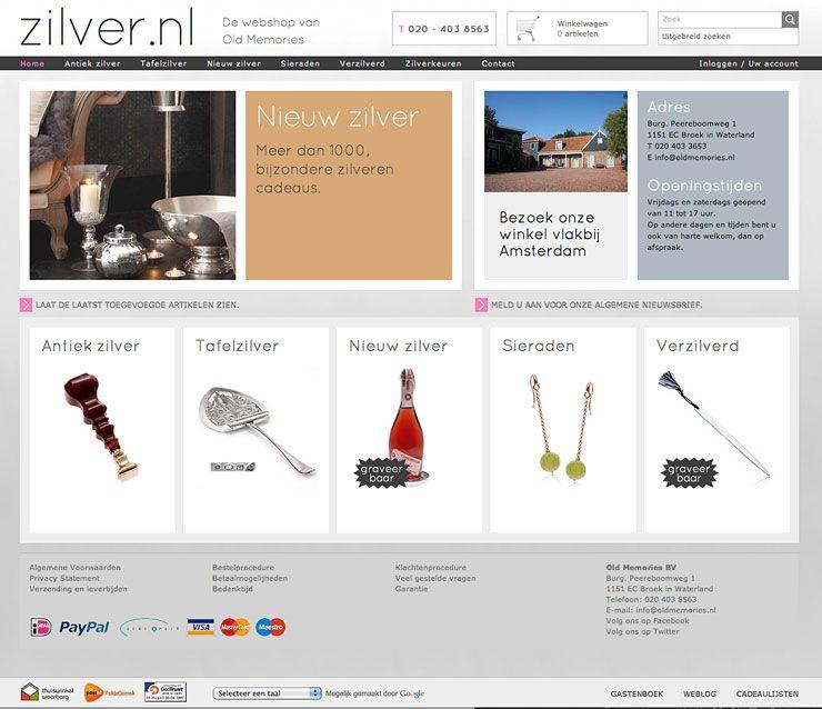 Zilver.nl nieuw webshop