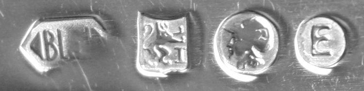 Staande leeuw met een Romeinse I gebruikt voor 1e gehalte zilver van 1953 tot heden.