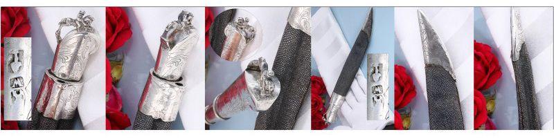 Antiek zilveren mes uit Alkmaar in haaienhuid schede
