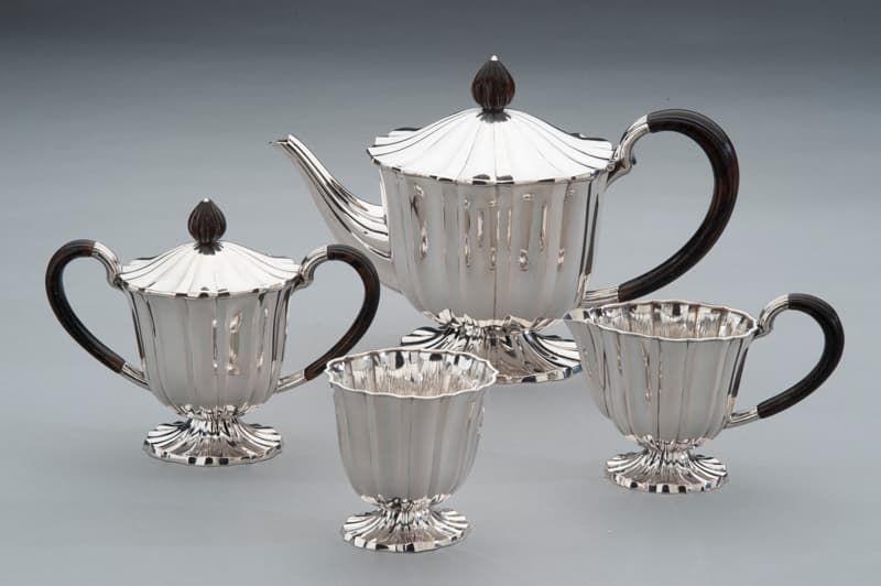 Zilver servies Paris ontworpen door Gustav Beran